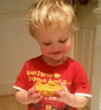Small Boy with Sweet Potato And Lime Bread