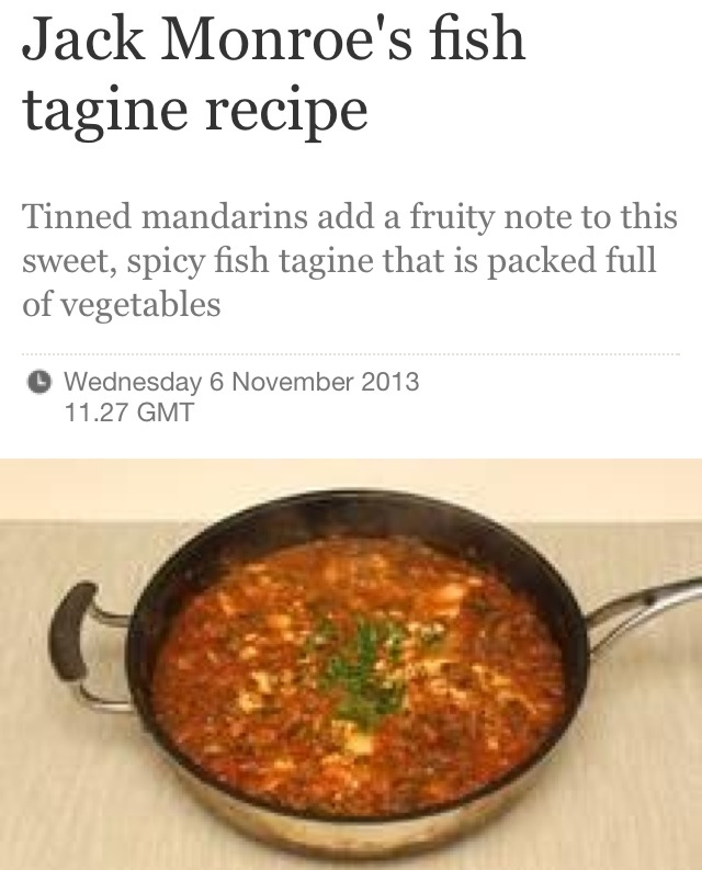 Fish tagine cooking on a bootstrap by jack monroe for Jack fish recipe