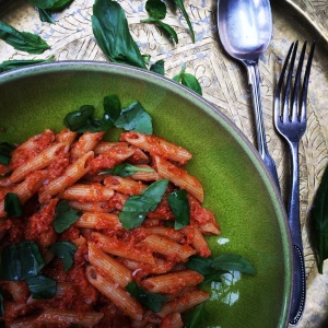 Penne pappa al pomodoro. Soaked bread crusts in tinned tomatoes are having their moment in my kitchen this week.
