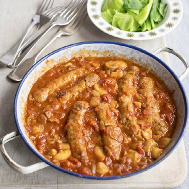 Sausage and beer casserole photo by Susan Bell for A Girl Called Jack.